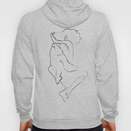 Young couple cuddling line drawing Hoody