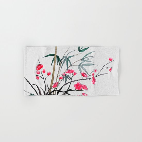 bamboo and red plum flowers Hand & Bath Towel