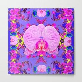 Purple Orchids Pattern Fantasy peacock eyes Art Pattern Art Design Metal Print