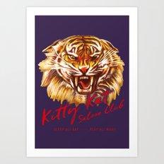 Kitty Kat Saloon Club - Purple Art Print