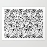 it crowd Art Prints featuring Crowd by Mila Karavai