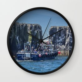 Passengers on board a boat at the farne Islands, Northumberland Wall Clock