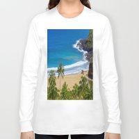 hawaiian Long Sleeve T-shirts featuring Hawaiian beach by Ricarda Balistreri