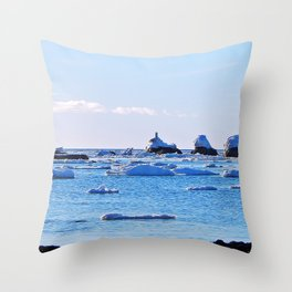 Snow Topped Boulders Throw Pillow
