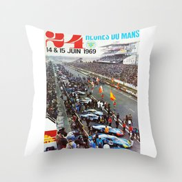 1969 Le Mans poster, Race poster, Car poster, vintage poster Throw Pillow