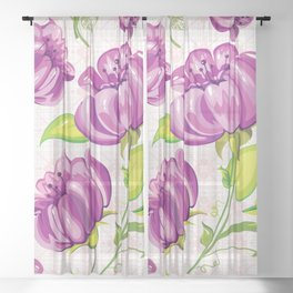 Purple Floral Wallpaper Abstract Design Sheer Curtain