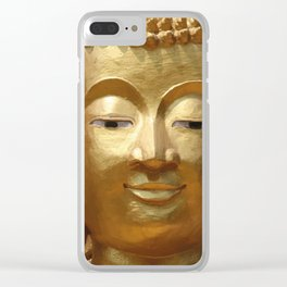 Buddha Head Illustration Design gold Clear iPhone Case