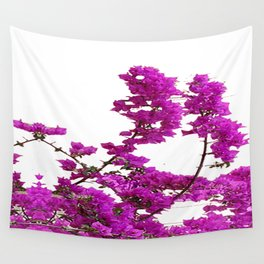 LILAC PURPLE BOUGAINVILLEA VINES CLIMBING ON WHITE Wall Tapestry