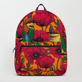 Bee eaters and poppies on orange Backpack