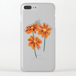 There is a Light that Never Goes Out Orange Flowers Illustration Lyric Clear iPhone Case
