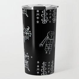 Papa Legba + Baron Samedi + Gran Bwa + Damballah-Wedo Voodoo Veve Symbols in Black Travel Mug