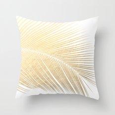 Palm leaf - gold Throw Pillow