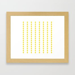 Geometric Droplets Pattern Linked - Summer Sunshine Yellow on White Framed Art Print