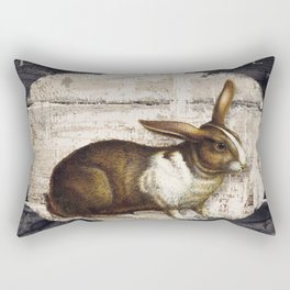 Vintage French Farm Sign Rabbit Rectangular Pillow