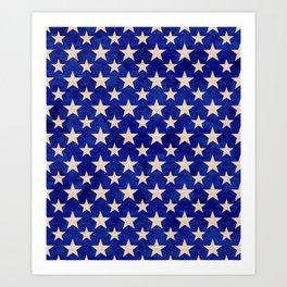 Gold stars on a dark blue background. Art Print