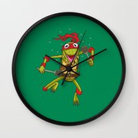 muppet Wall Clocks featuring TEENAGE MUPPET NINJA PUPPET by T.a. Bryant