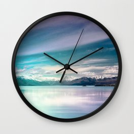 Peaceful Blue Lake Pukaki, New Zealand Wall Clock
