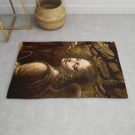 "Leonardo da Vinci Angel in ""The Virgin of the Rocks (London)"" Rug"