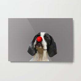 Pointer dog with red clown nose Metal Print
