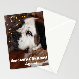 St Bernard dog at Christmas Stationery Cards
