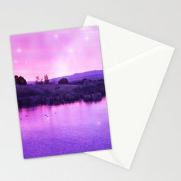 Purple Duck Sunset Stationery Cards