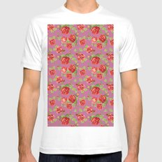 Rose pattern- pink Mens Fitted Tee MEDIUM White