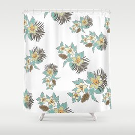 Seamless Pattern with small Flowers. Scandinavian Style Shower Curtain