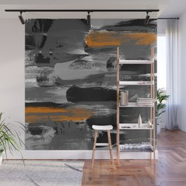 Black Gray Orange Messy Brushstrokes Wall Mural
