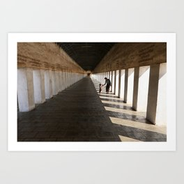 Father and son at Shwezigon pagoda, Nyaung U, Myanmar Art Print