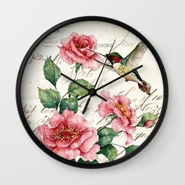 Vintage Roses Print Hummingbird Art Love Quote Rustic Decor Valentine Gift Wall Clock