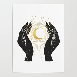 Gold La Lune In Hands Poster