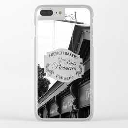 French Bakery Sign - Black and White Clear iPhone Case