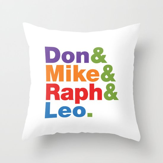 Don & Mike & Raph & Leo. Throw Pillow