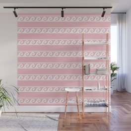Pink and white Greek wave ornament pattern Wall Mural