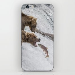 The Catch - Brown Bear vs. Salmon iPhone Skin