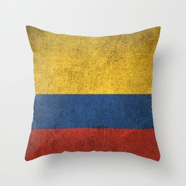 Old and Worn Distressed Vintage Flag of Colombia Throw Pillow