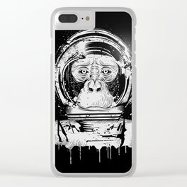 Chimpanzee with astronaut helmet Clear iPhone Case