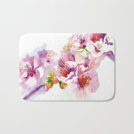 Sakura - Cherry Tre Flowers Watercolor Bath Mat