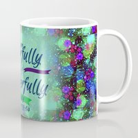 scripture Mugs featuring FEARFULLY AND WONDERFULLY MADE Floral Christian Typography God Bible Scripture Jesus Psalm Abstract by The Faithful Canvas