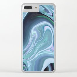 Blue Ocean Wave Abstract Clear iPhone Case
