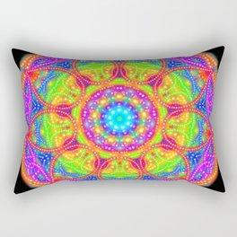 Midnight Neon Mandala Rectangular Pillow