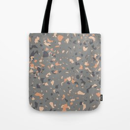 Coral and Gray Terrazzo Pattern Tote Bag