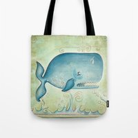 the whale Tote Bags featuring WHALE by Patrizia Ambrosini