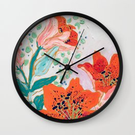 Orange Lily Wall Clock