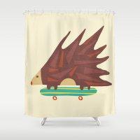 skateboard Shower Curtains featuring Hedgehog in hair raising speed by Picomodi