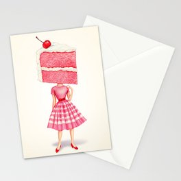 Cake Head Pin-Up - Cherry Stationery Cards