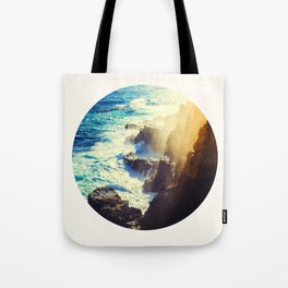 Mid Century Modern Round Circle Photo Graphic Design Blue Waters Rocky Shores With Sunlight Tote Bag