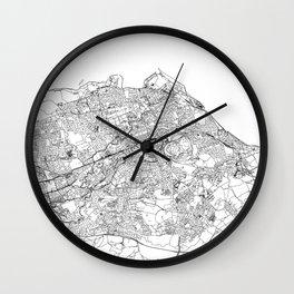 Edinburgh White Map Wall Clock