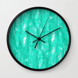 Subtle interweaving of sparkling smudges from light blue lava and light chaotic cycle. Wall Clock