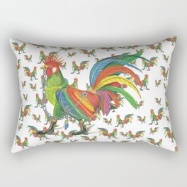 Punky Rooster on White background Rectangular Pillow